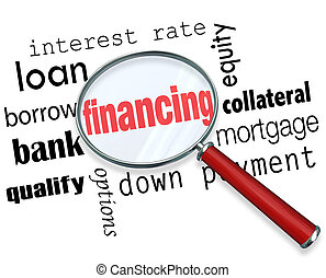 Financing Magnifying Glass Words Load Mortgage - The word...