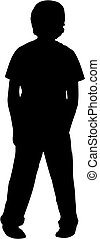 silhouette of boy - silhouette of a boy standing with his...