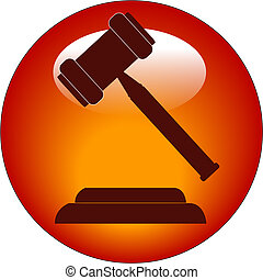 gavel button or icon - red button or icon of a gavel -...