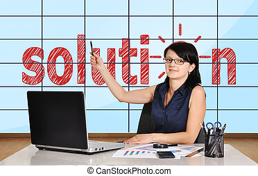 plasma panel with solution - woman in office pointing at...