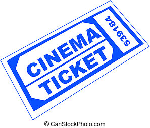 cinema ticket - blue numbered cinema admission ticket -...