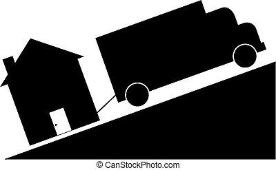 crashing housing market - truck towing house - crashing...