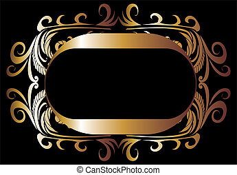 tribal design gold frame vector art