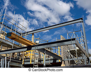 steel frame house construction - scaffolding steel bricks...