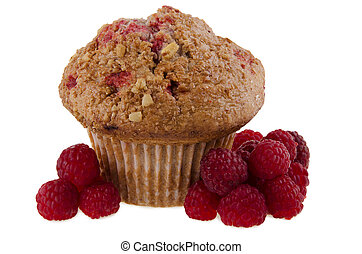 Raspberry Muffin - Raspberry muffin, isolated on white...