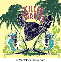 tattoo tribal surfer big wave vector art