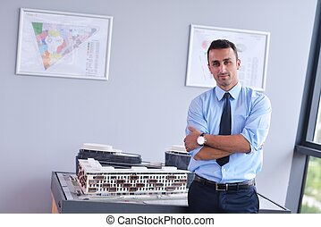 business man waiting for meeting to begin in Board room -...