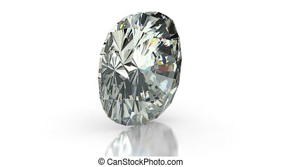 Cushion Cut Diamond - Cushion cut diamond on white seamless...
