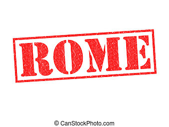 ROME Rubber Stamp over a white background.