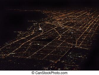 Night Panorama Of Chicago