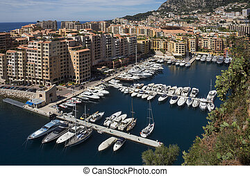 Monaco - South of France - The Port of Fontvieille in the...