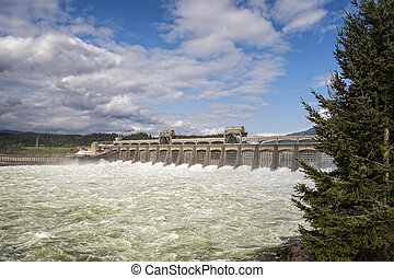 Bonneville Dam - Water from the Columbia River rush through...