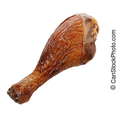 Turkey Drumstick - Turkey Smoked Leg Isolated On White