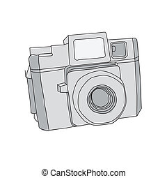 Hand Drawn of Vector Camera, holga