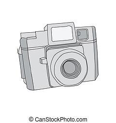 mano, dibujado, vector, cámara