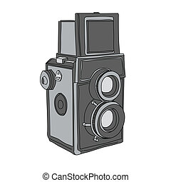 Hand Drawn of Vector Camera, twin-lens reflex camera