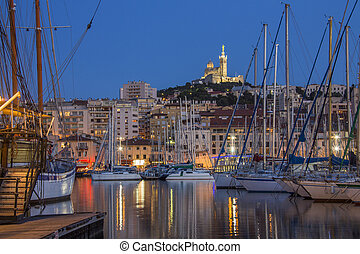 Marseille - South of France - The harbor of Marseille at...