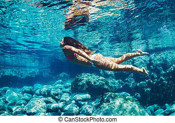 Woman floating in Natural Pool - Attractive young woman...