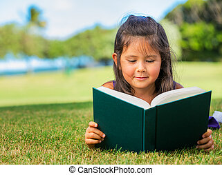 Little Girl Reading - Cute Little Girl Reading Outside on...