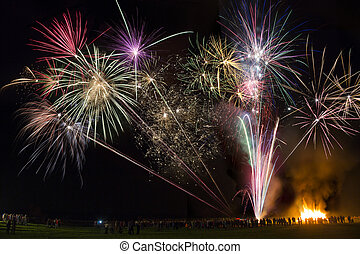 Fireworks Display Guy Fawkes Night also known as Bonfire...