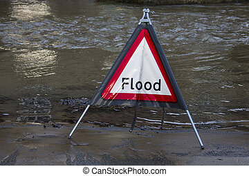 Flood Warning - England - Flood Warning Flood water flowing...
