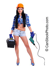 Construction Worker - fashion glamour model in shorts,...