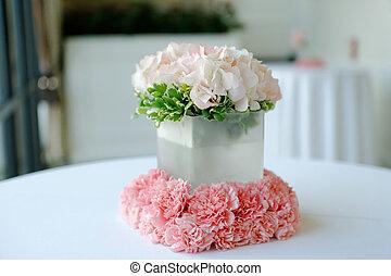 hermoso, blanco, boda, centro de mesa