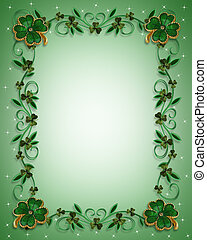 St Patricks Day Border Shamrocks - 3D Illustration for St...