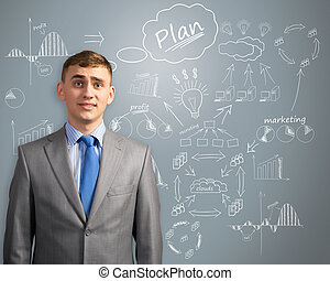 businessman thinking about innovation in business - image of...