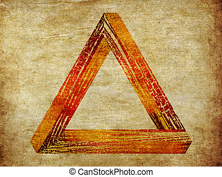 Grunge fantastic triangle - Grunge fantastic shaped wooden...