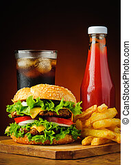 hamburger, cola, french fries and ketzchup - hamburger,...