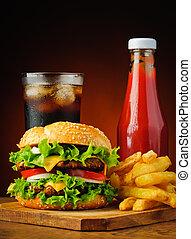 hamburguesa, cola, francés, fríe, ketzchup