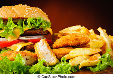 Fast food menu with chicken nuggets, hamburger and french...