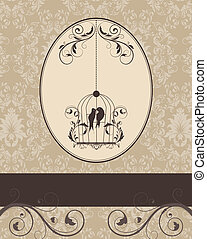 damask card - brown vintage invitation card with birdcage