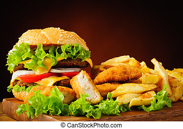 cheeseburger, frito, pollo, Pepitas, francés, fríe