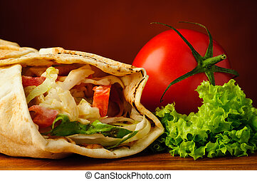Traditional shawarma and vegetables