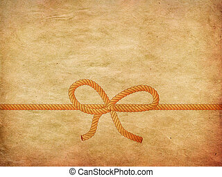Rope bow on paper - Yellow and grey rope bow on paper...