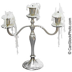Old candlestick - Old Candlestick with three candles...