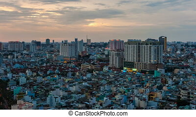 Timelapse of sunset on Ho Chi Minh City, Vietnam