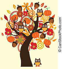 Fall Tree - vector tree with fall elements and owls