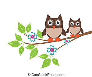 Two Owls - vector owls in the tree