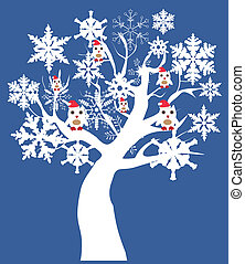Sonw Owl - vector snow tree with owls