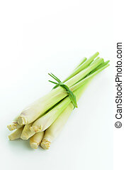 Lemongrass - Bundle of fresh lemongrass isolated on white...