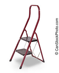 Old red step ladder isolated over white