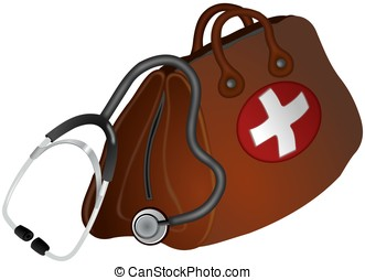 Doctors bag and stethoscope - Brown doctors bag with white...