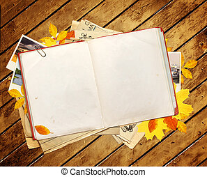 Old book and photos - Old book, autumn leaves and photos....