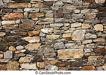 Medieval wall of stone blocks - Ancient wall of stone blocks