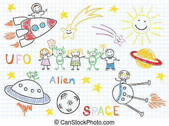 Vector sketches with happy children's and aliens. Sketch on...