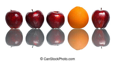 Standout Orange - An orange being standout among red apples...
