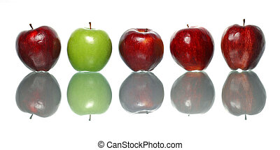 Standout Apple - A green apple being standout among red...